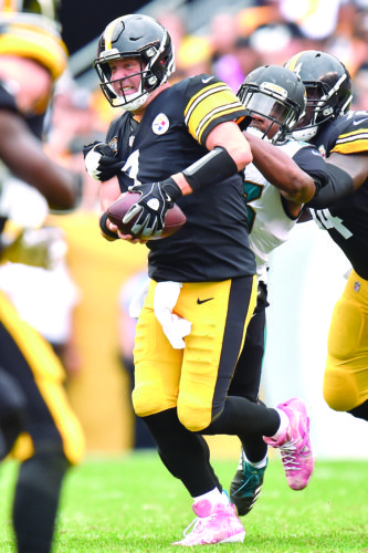 SACKING — Jacksonville Jaguars defensive end Dante Fowler sacks Pittsburgh Steelers quarterback Ben Roethlisberger on Oct. 8 in Pittsburgh. (AP Photo)