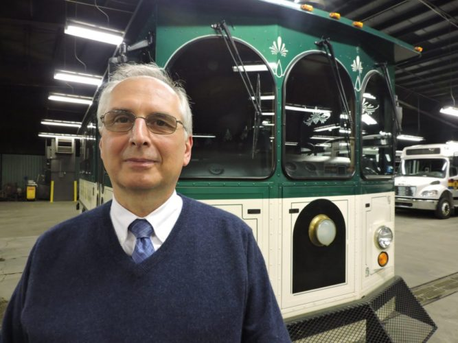 TROLLEY TO ROLL — Ohio Valley Regional Transportation Authority Executive Director Tom Hvizdos said approximately 24 passengers at a time will be able to ride the downtown Wheeling shuttle when it hits the streets Jan. 22. -- Casey Junkins