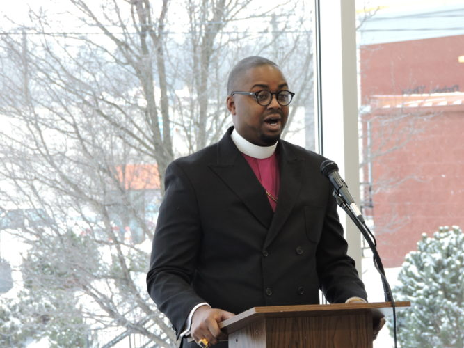 REMEMBERING MARTIN LUTHER KING JR. — Bishop Jermaine Moore of Mount Zion Baptist Church of Steubenville was the keynote speaker Monday during the Martin Luther King Jr. Association reflection event held at Harding Middle School. -- Dave Gossett