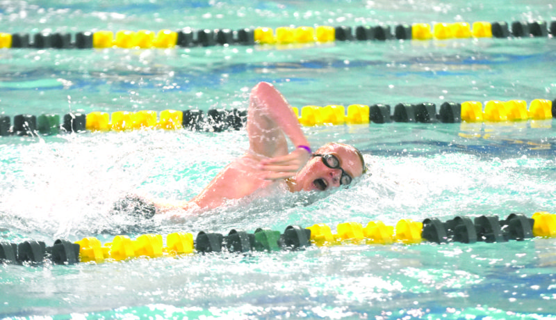 CHAMPIONSHIP EFFORT — Weir High's Wil Visnic competes in the 200 freestyle on Friday at the West Virginia Secondary Schools Activities Commission state swim meet in Morgantown. Visnic won a state title in the event. (Staff photo)