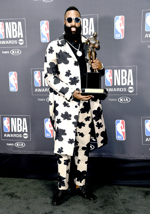 NBA Player James Harden Of The Houston Rockets Poses In Press Room With Most Valuable Award At Awards On Monday June 25 2018