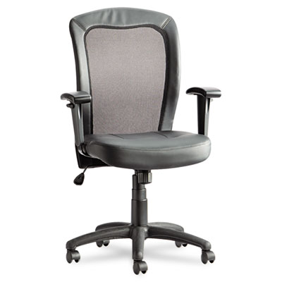 Alera Easton Series Mesh/Leather Mid-Back Synchro-Tilt Chair