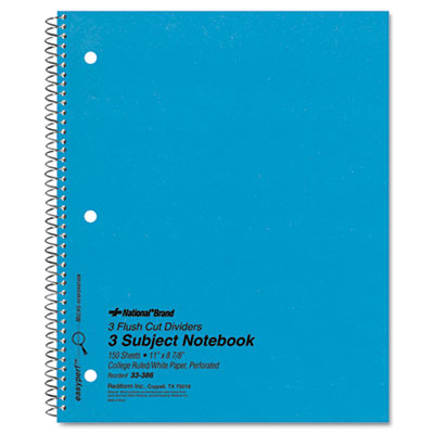 National Brand Three-Subject Wirebound Notebooks