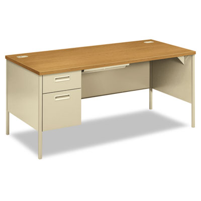 "HON Metro Classic Series Single Pedestal ""L"" Workstation Desk"