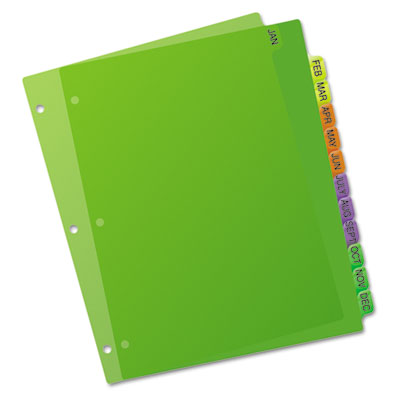 Avery Durable Plastic Preprinted Tab Dividers with Multicolor Tabs
