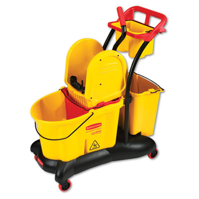 Rubbermaid Commercial WaveBrake Mopping Trolley Down-Press Bucket/Wringer Combo