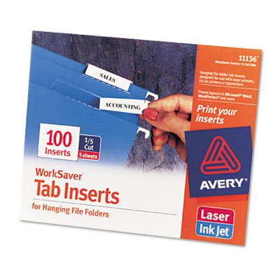 Avery Tabs Inserts For Hanging File Folders