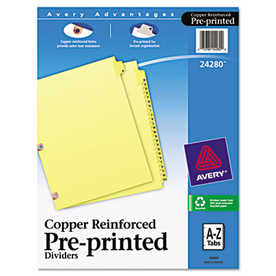 Avery Preprinted Laminated Tab Dividers with Copper Reinforced Holes
