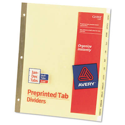 Avery Preprinted Laminated Tab Dividers with Gold Reinforced Binding Edge