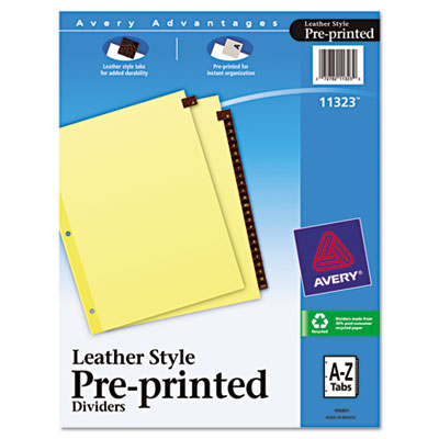 Avery Preprinted Red Leather Tab Dividers with Clear Reinforced Binding Edge