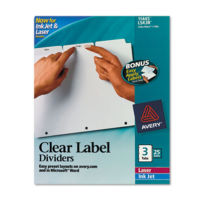 Avery Index Maker Clear Label Punched Dividers with White Tabs