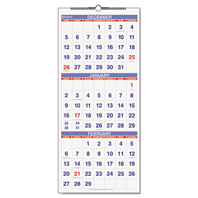 AT-A-GLANCE Three-Month View 14-Month Wall Calendar in Vertical Format