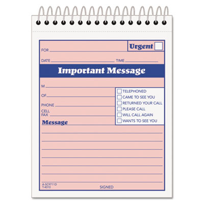 TOPS Telephone Message Book with Fax/Mobile Section