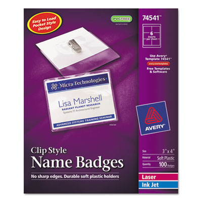 Avery Name Badge Holders Kit with Laser/Inkjet Inserts