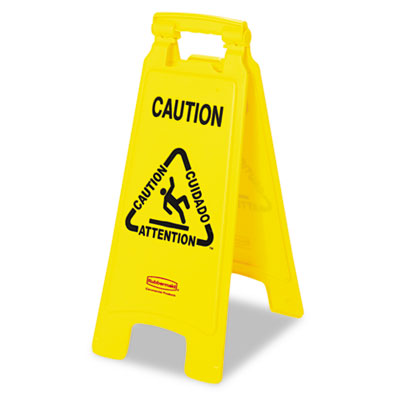 "Rubbermaid Commercial Multilingual ""Caution"" Floor Sign"