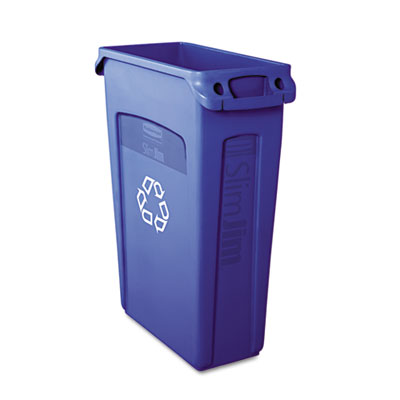 Rubbermaid Commercial Slim Jim Plastic Recycling Container with Venting Channels