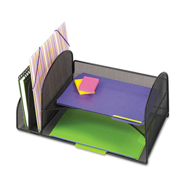Safco Onyx Mesh Desk Organizer with Two Vertical/Two Horizontal Sections