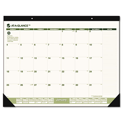 AT-A-GLANCE Recycled Monthly Desk Pad