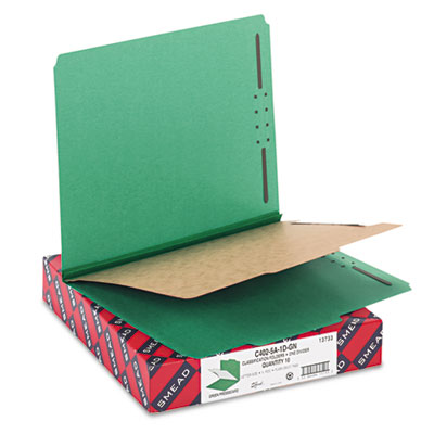 Smead Four-Section Colored Pressboard Top Tab Classification Folders with SafeSHIELD Coated Fastener