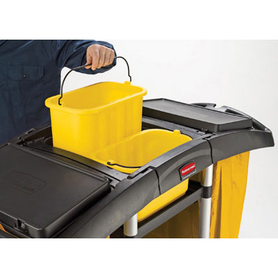 Rubbermaid Commercial Bi-Bag Waste-Collection Cleaning Cart