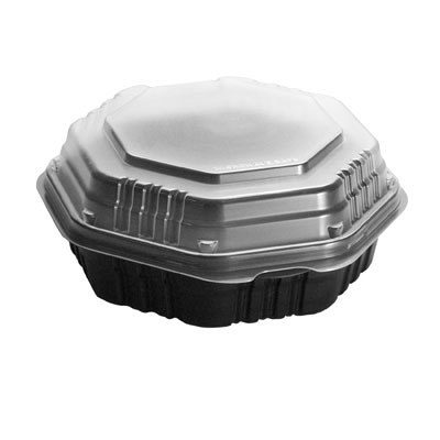 SOLO Cup Company OctaView Hinged-Lid Hot Food Containers