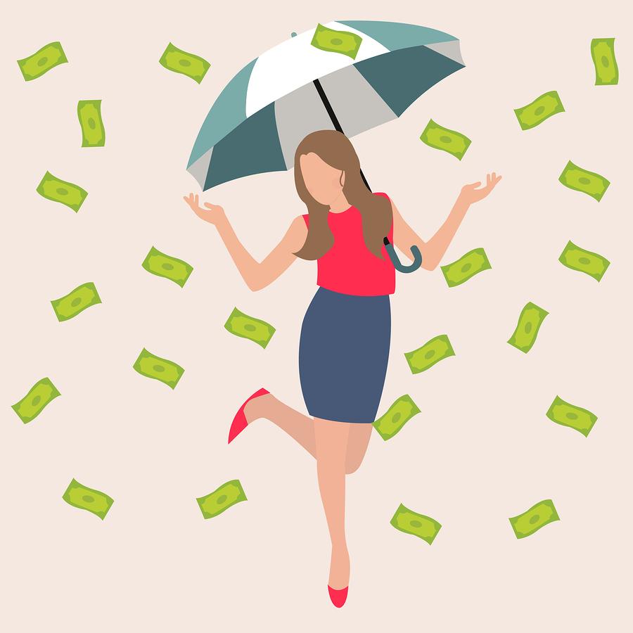 woman umbrella money rain dollar cash rich lucky success business flat vector illustration concept drawing