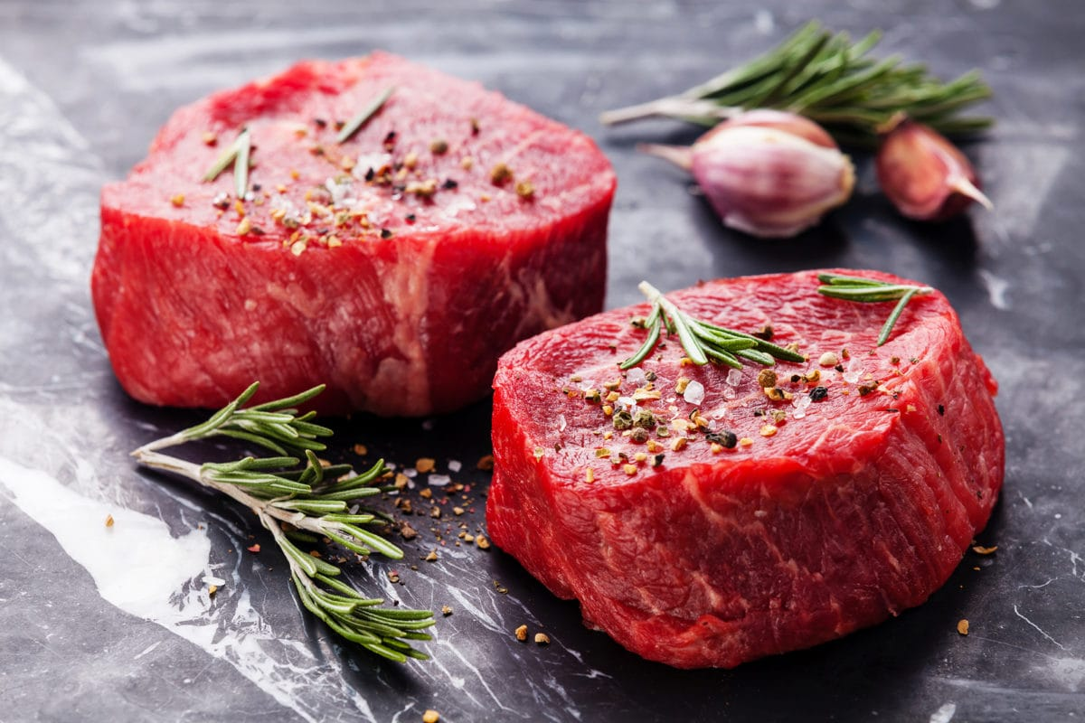 beef steaks on grey background