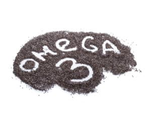 the word omega-3 written in chia seeds