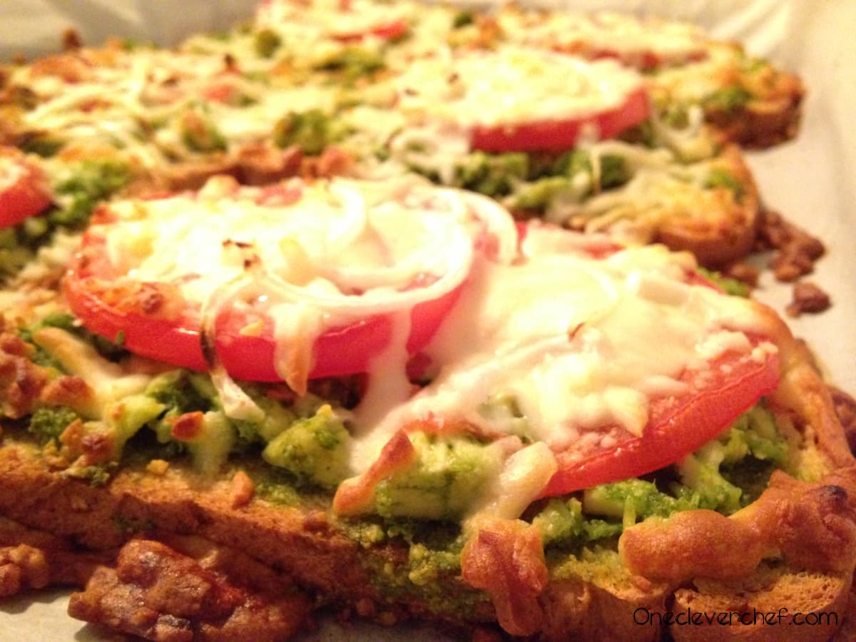 Open-Face Melted Mozzarella Sandwich With Spinach Pesto Chicken