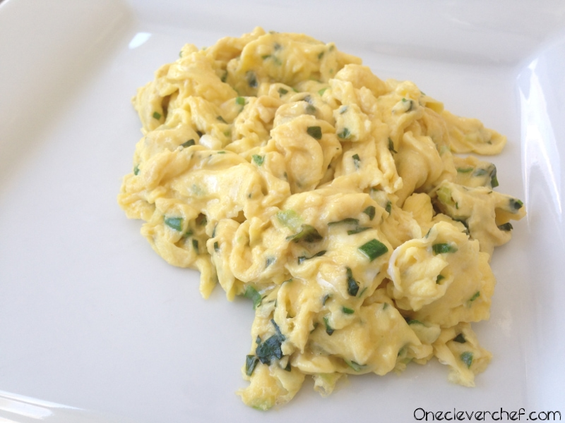 Scrambled Eggs With Fresh Basil And Green Onion: