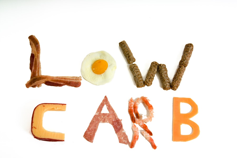 Low carb written with food