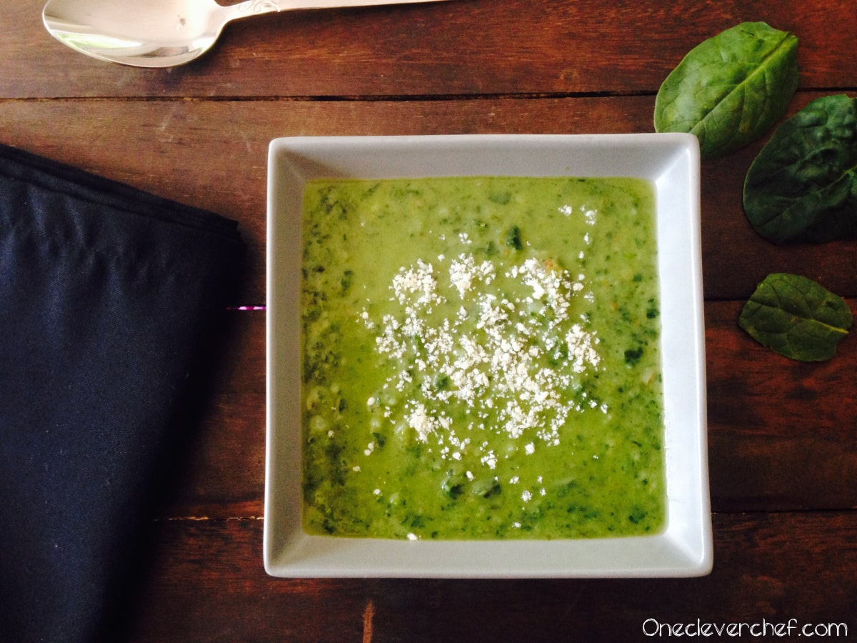 Kale And Spinach Cream Soup   www.onecleverchef.com. Green onion, garlic, lemon juice, chicken broth, potatoes, fresh spinach, fresh kale.