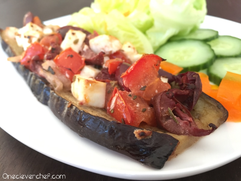 Eggplant Crust Mediterranean Style Pizza | www.onecleverchef.com | tomato, onion, kalamata olives, feta cheese, lemon juice, oregano, eggplant, olive oil