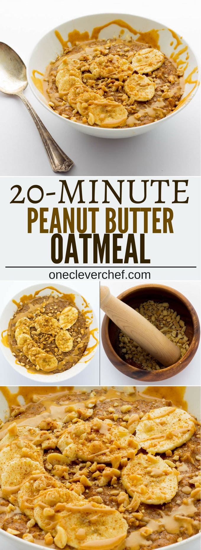 This Peanut Butter Porridge is easy to make, SO comforting and extra healthy! Vegan, Gluten-Free, Dairy-free | www.onecleverchef.com
