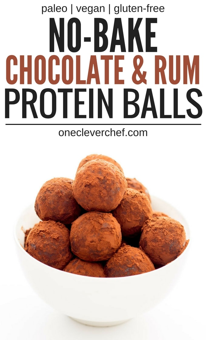 These Healthy Chocolate & Rum Balls are the perfect no-bake snack. They are easy to make, protein-packed and perfect either as a dessert or a post-workout lunch. Made in one bowl and ready under 15 minutes, theya re also paleo, vegan, gluten-free and dairy-free | onecleverchef.com