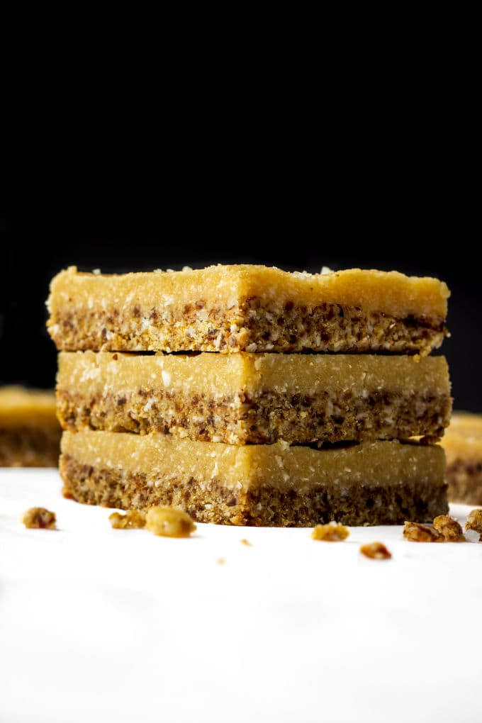 A Healthy No-Bake Vegan Vanilla Slice. It is smooth, creamy and melts in your mouth. Paleo, Vegan, Gluten-Free, Dairy-Free! | www.onecleverchef.com
