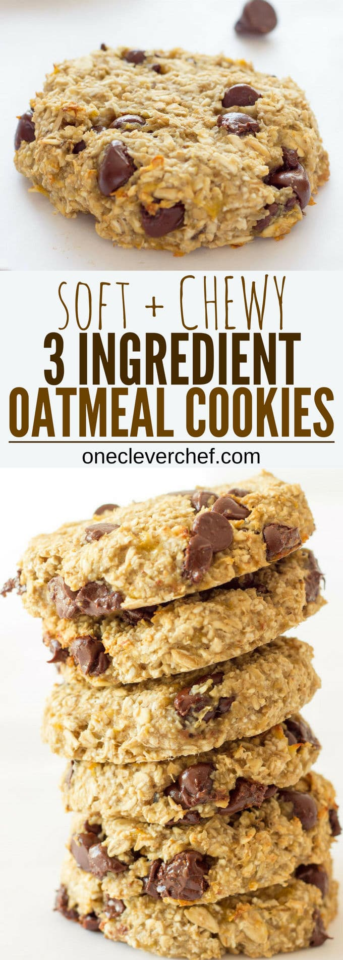 Ready under 20 minutes, these healthy, chewy and soft banana & oatmeal cookies are made with only 3 simple ingredients. They are a very simple and light version of the traditional oatmeal cookie with added dark chocolate chips. Flourless, eggless, low-calorie and low-fat these delicious cookies are made without butter, brown sugar or baking soda. Most homemade traditional oatmeal cookie recipes require that the dough is chilled before cooking, well, no need to refrigerate the dough for that recipe as the preparation holds very well on its own. Paleo, vegan, gluten-free and dairy-free this recipe is friendly to most diets trending right now. Are you on a low cholesterol diet? Give these a shot! | www.onecleverchef.com