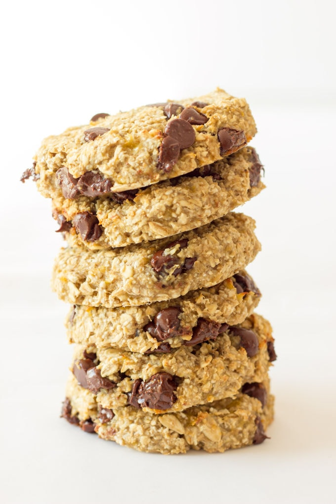 These healthy, chewy and soft 3 ingredient banana oatmeal cookies are ready under 20 minutes . They are a very simple and light version of the traditional oatmeal cookie with added dark chocolate chips. Flourless, eggless, low-calorie and low-fat these delicious cookies are made without butter, brown sugar or baking soda. Vegan, gluten-free and dairy-free. Are you on a low cholesterol diet? Give these a shot!