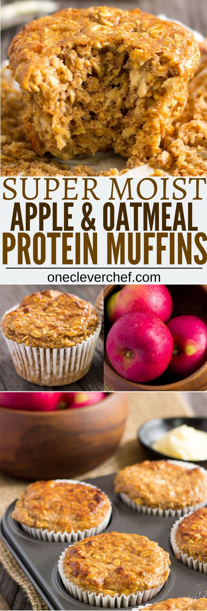 I love these super moist and tender apple protein muffins. These yummy little ones are protein-packed, 100% healthy, naturally sweetened with maple syrup (could be replaced with honey) and extra easy to make. They are the perfect on-the-go clean eating breakfast or post-workout lunch. These are also gluten-free, dairy-free and can be made vegan by replacing the eggs with flax eggs or applesauce.  www.onecleverchef.com