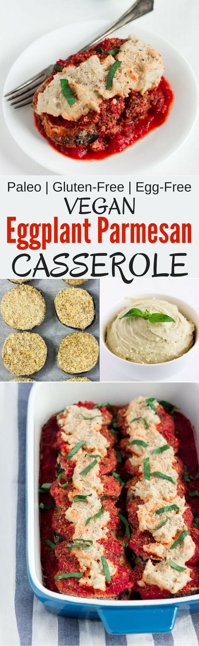 Seriously, where's the egg? This Vegan Fried Eggplant Casserole (AKA eggplant parmesan) is nothing like you've seen before. Making this dish Gluten-free, Egg-Free, Dairy-Free, Vegan, Flourless and Paleo was truly a feat... But I made it! In the traditional recipe, the eggplant is usually coated with egg then panko or Italian breadcrumbs. Not here. This recipe is 100% healthy, made with real unprocessed food and so, so good...! | www.onecleverchef.com