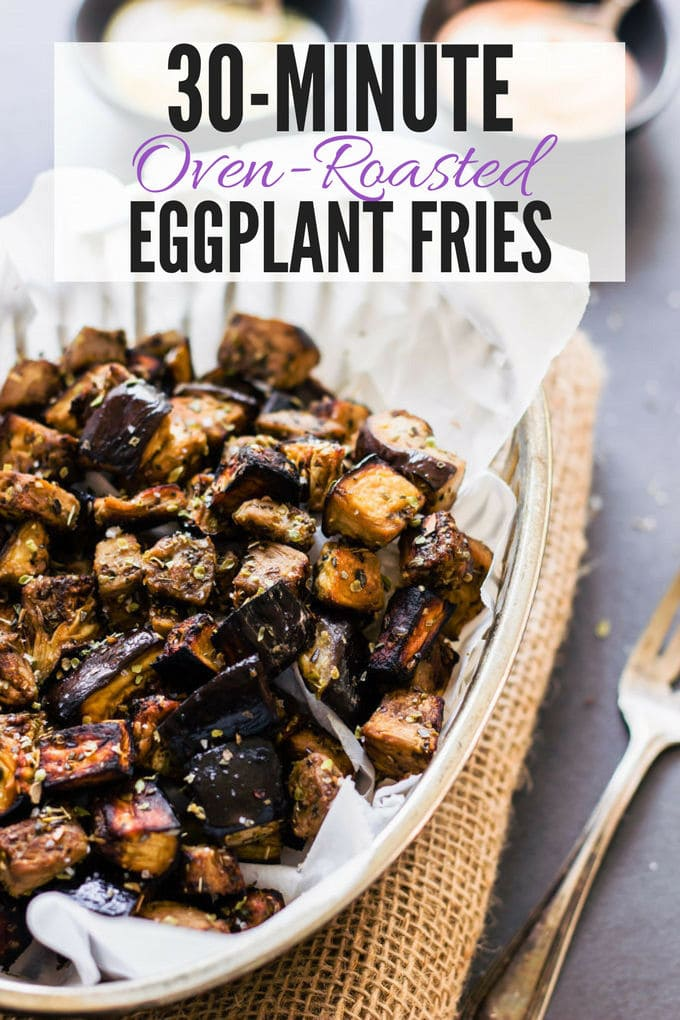 These oven roasted eggplantcubes are a delicious, much healthier alternative to potato fries. The recipe for the balsamic vinaigrette is of Mediterranean inspiration with strong Greek flavors. Super easy to make and 100% healthy, this recipe is also entirely paleo, gluten-free, vegan, low-carb, dairy-free, flourless, nut-free and egg-free. | www.onecleverchef.com