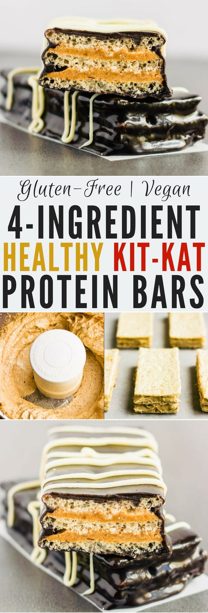 These healthy & homemade kit kat protein bars are easy to make and require only 4 simple ingredients. These extra crunchy, no-bake protein treats are the perfect post-workout snack. They are entirely gluten-free, paleo, vegan, dairy-free, egg-free, flourless and nut-free. | www.onecleverchef.com