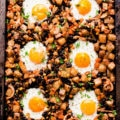 This dairy-free breakfast casserole with potatoes and eggs is the perfect family pleaser. You will love this super healthy breakfast bake as it is quick and easy to make, but also because it is the perfect meal idea for picky eaters. This kid-approved recipe is also gluten-free, vegetarian and could be made paleoby replacing two simple ingredients.   onecleverchef.com #healthy #breakfast #gluten-free #vegetarian #onepanbreakfast #easybreakfast #onecleverchef