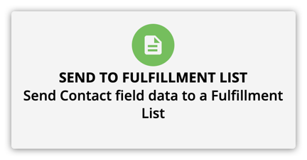Send to Fulfillment List element