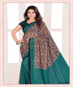 Bansi Vichitra Georgette Printed Green Saree - online shopping india