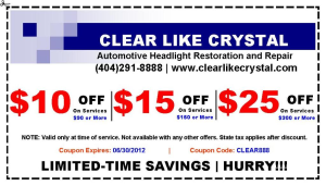 Coupon Discount for Headlight Services