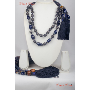 Fashion Jewelled Scarf - Grey and blue Onyx beads attached with a tassel