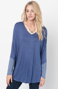 Buy Now V-Neck Striped Panel Sleeve Tunic Online - $34 -@caralase.com