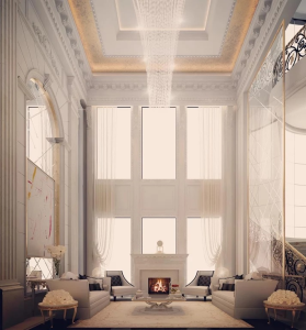 Fireplace Lounge Interior Design-Private Residence