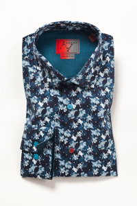 Men's Printed Shirts - Cannes Navy/Light Blue Floral Printed Shirt